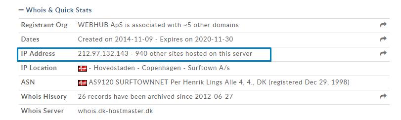 antal hjemmesider på server