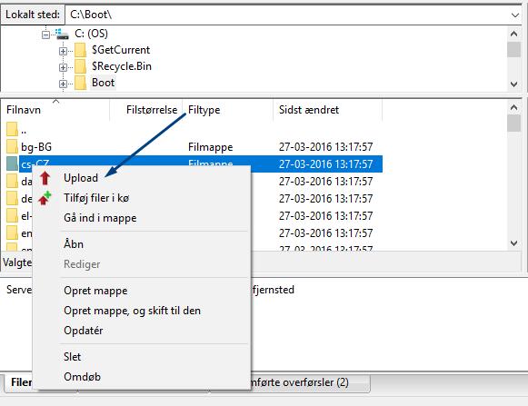 Upload med FileZilla