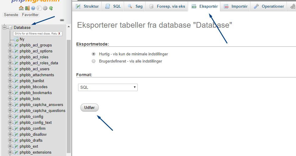 Backup af database