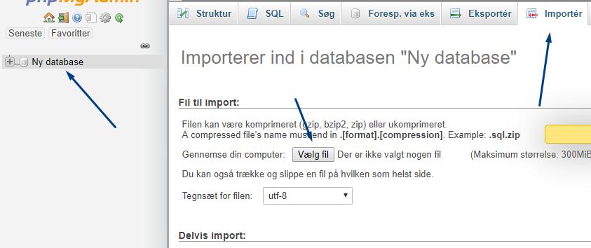 Importer ny database